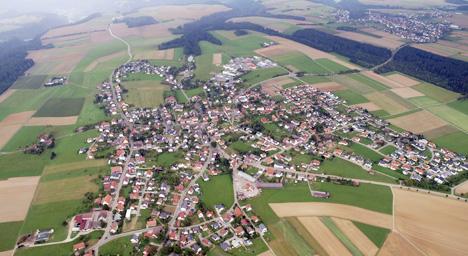 Luftaufnahme der beiden Ortsteile