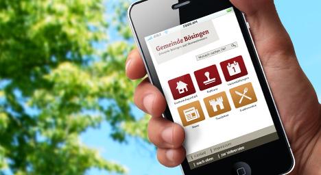 Startbildschirm der Mobilversion von boesingen.de